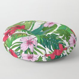 Tropical Bright Floral And Palm Leaves Island Pattern Floor Pillow
