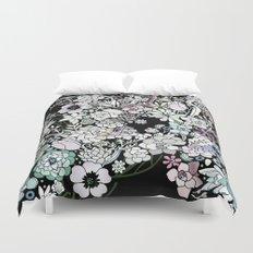 Colorful black detailed floral pattern Duvet Cover