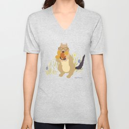 Nut Crazy...- Modern, Quirky, Cute, Woodland Creature, Squirrel Illustration Print Unisex V-Neck