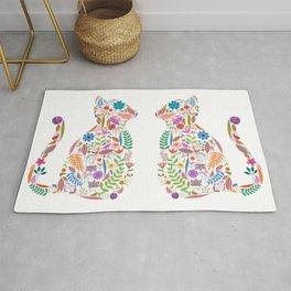 Fancy And Fine Flowered Cat Garden Design Rug