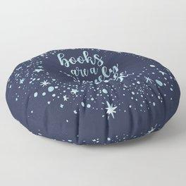 Books Are a Uniquely Portable Magic (Blue) Floor Pillow