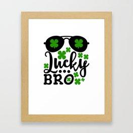Lucky Bro Shamrocks And Sunglasses St Patricks Day Framed Art Print