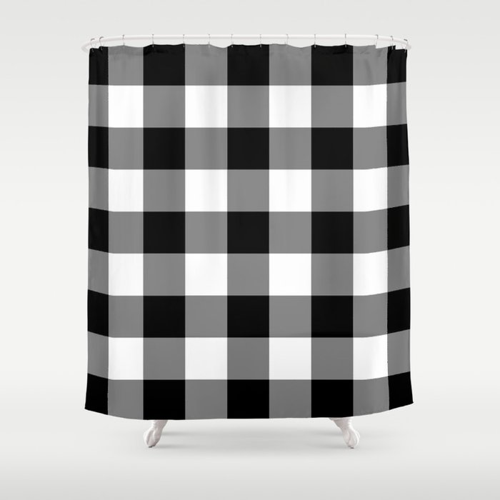 Black And White Buffalo Plaid Shower Curtain