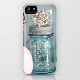 Vintage Mason Jars Shabby Chic Cottage Jeweled Decor iPhone Case