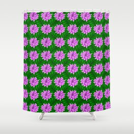 Cute pink blooming lilies and green leaves decorative floral feminine pretty pattern design. Shower Curtain