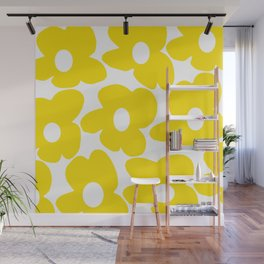 Large Yellow Retro Flowers on White Background #decor #society6 #buyart Wall Mural