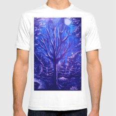 Lonely Tree White MEDIUM Mens Fitted Tee