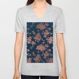 Navy blue faux rose gold watercolor floral Unisex V-Neck