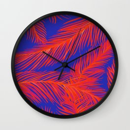 Tropical Palm Print - Red and Blue Wall Clock