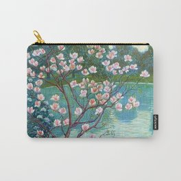 Springtime Pink Magnolias by the Kettle Pond landscape by Wilhelm List Carry-All Pouch