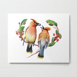 Cedar Waxwing Love Metal Print
