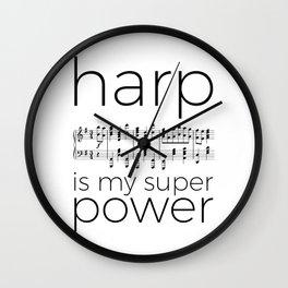 Harp is my super power (2) (white) Wall Clock