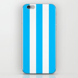 Capri turquoise -  solid color - white vertical lines pattern iPhone Skin