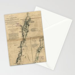 Vintage Map of Lake Champlain & Lake George (1776) Stationery Cards