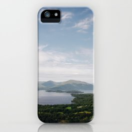 The vast landscape of Loch Lomond on a mild summer's day - Scotland. iPhone Case