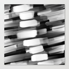 Racing City Lights - Black and White Canvas Print