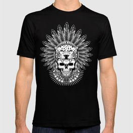 Aztec Jaguar Warrior Skull T-shirt