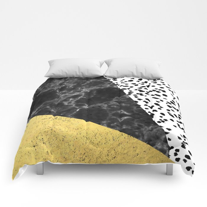 Mele - gold abstract painting art decor dorm college trendy hipster foil glitter black and white dot Comforters