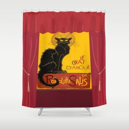Le Chat D'Amour with Theatrical Curtain Border Shower Curtain