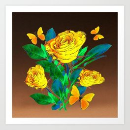 BROWN SHADES YELLOW SPRING ROSES & BUTTERFLIES Art Print