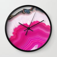 agate Wall Clocks featuring Pink Agate Slice by cafelab