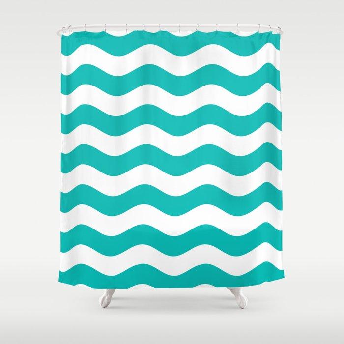 Wavy Stripes Tiffany Blue White Shower Curtain