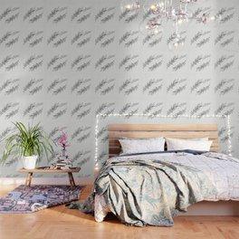 Eucalyptus leaves black and white Wallpaper