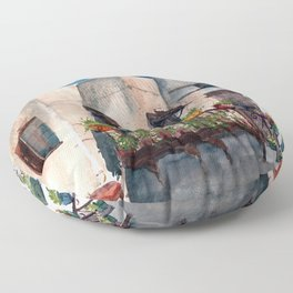 Herbs and blossom on Rhodian balcony Floor Pillow