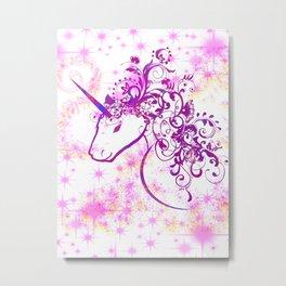 Unicorn Pink Sparkle Metal Print