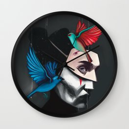 Surreal portrait girl with mask and tropical birds  Wall Clock