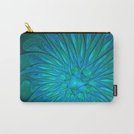 Floral in Sea Colors Carry-All Pouch