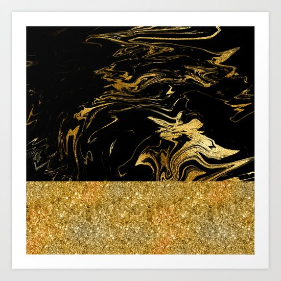 Luxury and glamorous gold glitter and black marble Art Print
