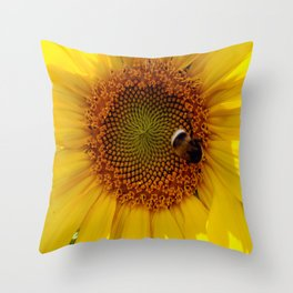 Bumble Bee in a Flower Throw Pillow