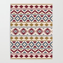 Aztec Essence Ptn III Red Blue Gold Cream Poster