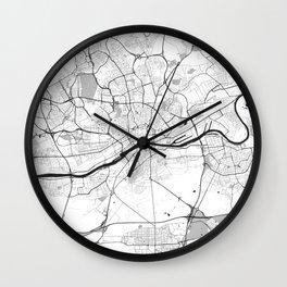 Frankfurt City Map Gray Wall Clock