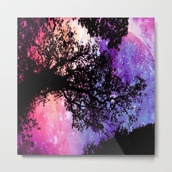 Black Trees Pink Purple Space Metal Print
