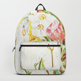 Tulips and Daffodils in a vase Backpack