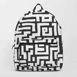 White and Dark Grey Maze Pattern Backpack