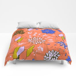 Orange Flower Pattern Comforters