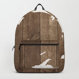 Michigan is Home - White on Wood Backpack