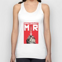 soviet Tank Tops featuring Retro Soviet minimalism space robot by Cardula