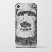 island iPhone & iPod Cases featuring Easter island - Moai statue - Ink by Nicolas Jolly