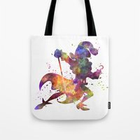 captain hook Tote Bags featuring Captain Hook in watercolor by Paulrommer