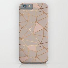 Geometrical mauve pink faux gold blush chic pattern iPhone Case