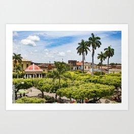 Red Gazebo and Trees Lining the Parque Colon de Granada in Nicaragua Art Print