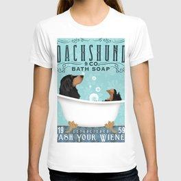 Longhaired Dachshund black tan bath clawfoot tub bubble bath  T-shirt