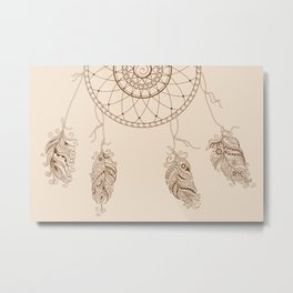 dream catcher with decorated feathers Metal Print