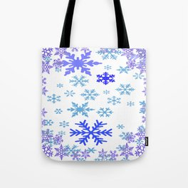 BLUE & PURPLE WINTER SNOWFLAKES ART ABSTRACT Tote Bag