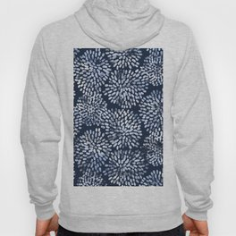 Abstract Navy Watercolor Line Flowers Hoody