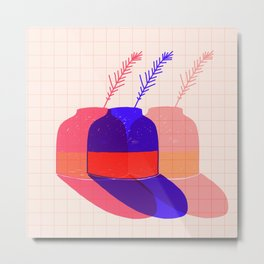 Summertheme Poster Art With Vase  Metal Print
